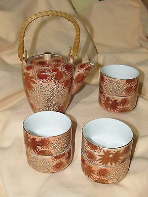 Imperial Ware Teapot Set W/ 6 Cups-Wicker Handle-Pink -Gold -Hand Painted-Japan