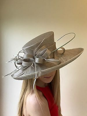 Taupe Brown Large Brim Sinamay Hat Wedding Races Occasion Mother Of The Bride