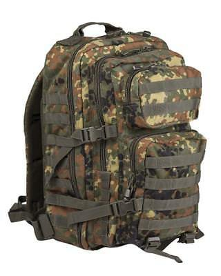 Military Style Assault Rucksack 36ltr Pack Mil-tec Flecktarn Airsoft Army Camp