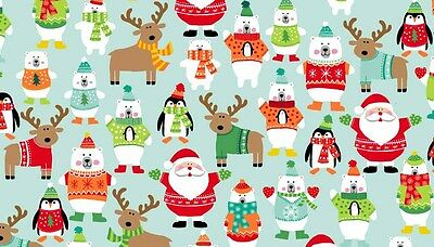 """Christmas NOVELTY Characters on Turq. cotton fabric 22"""" x 18"""" larger available"""