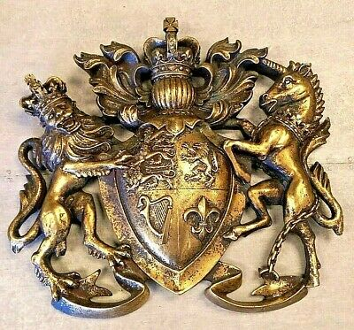 Coat of Arms gilded Crest , Resin Hand finished in Gold Coat of Arms heraldic