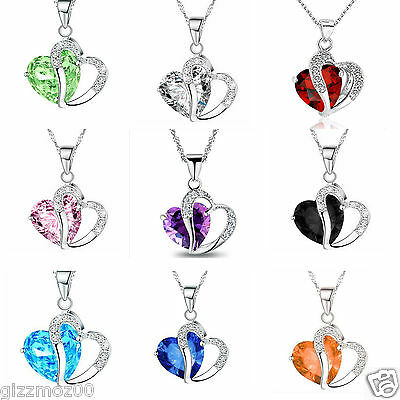 Fashion Women Jewelry  Pendant Crystal Heart  Necklace+Chain