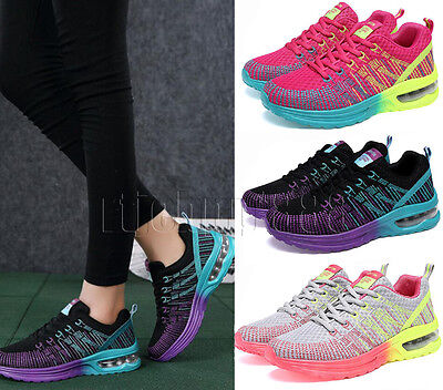 Womens Mesh Running Trainers Ladies Fitness Gym Shock Absorbing Sport Shoes Size
