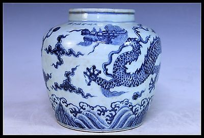Old Chinaese Blue and white porcelain seawater Dragon pot