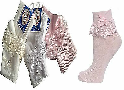3 And 6 pairs Girls Cream Pink & White Jester Bow Frilly Lace Socks All Sizes