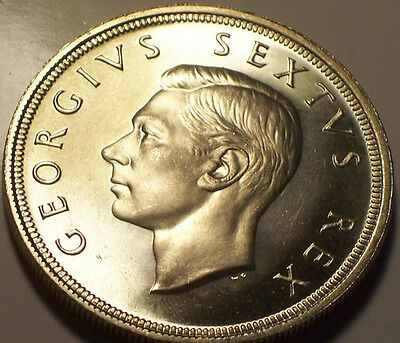 South Africa, 1949 George VI Five Shillings, 5 Shillings, Crown. 535,000 Mintage