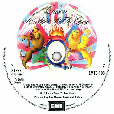 Queen. Day At The Races. Night At The Opera. Record Label Sticker.