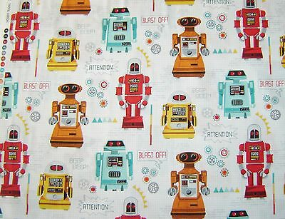 GALAXY Robots on white Cotton fabric Makower Size 55 cm x 50 cm larger available