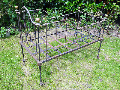 Beautiful French Antique vintage Cast iron cot / crib / day bed