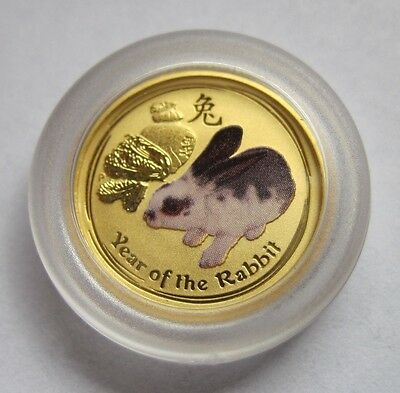 1/20 Gold BU Perth Mint Australia Lunar colored Rabbit Silver Coin .999 Bullion