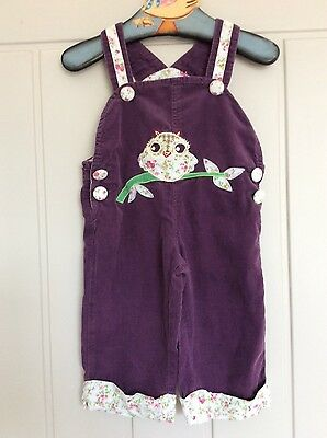 girls dungarees purple 6-12 months powell craft England Owl