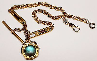 Antique Victorian Gold Filled SAPHIRET & Carnelian Double Sided Fob Watch Chain