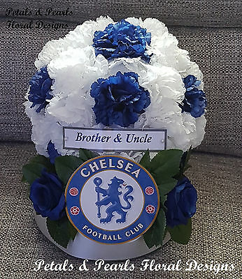 Artificial Silk Flower Chelsea FC Football Funeral Wreath Tribute Blue & White