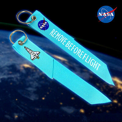 Blue NASA Remove Before Flight Fabric Key Chian Luggage Aviation Tag Keyring 1pc