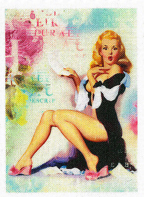 Retro Pin Up 50`s Aufnäher Vintage Nostalgie Applikation Stoffbild - 314