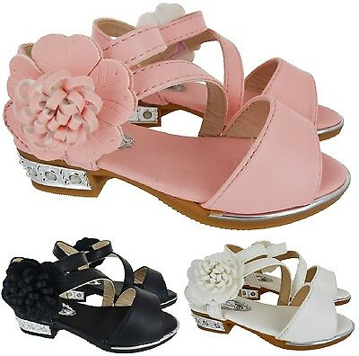 Kids Girls Childrens Summer Flower Flat Low Heel Dressy Party Sandals Shoes Size