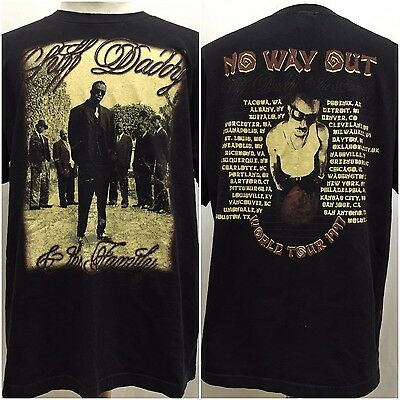 Vintage 1997 No Way Out Tour Puff Daddy & The Family T-shirt Size XL Bad Boy