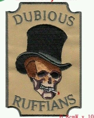 Motorcycle Biker Skull Hells Iron On / Sew On Patch Dubious Ruffians