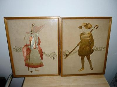 Vintage Pair of Framed Hand Embroidered PILGRIM FIGURES Pictures