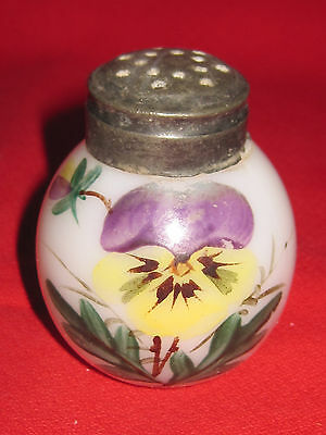 Victorian hand painted milk glass shaker with pansy flower design