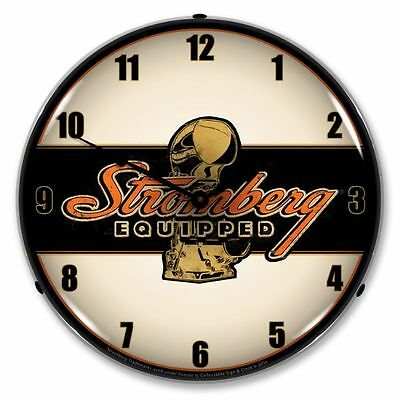 "Nostalgic "" Stromberg Equipped "" Lighted Backlit Advertising Clock Carburetor"
