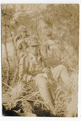 WWII Japanese Army Three Soldiers Wearing Combat Gear  Photo