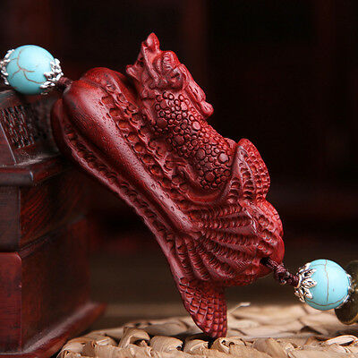 Chinese Red Sandalwood Wood Carving Pi Xiu Yao Cabbage Car Pendant Calaite Beads
