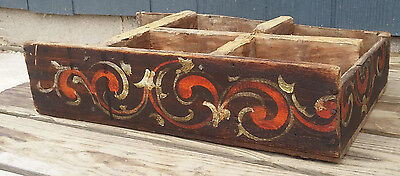 Antique Primitive Folk Art Painted Wood Norwegian Rosemaling Organizer Desk Box