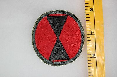 US WW2 Army Cut Edge Snowy Back 7th infantry Division Patch. OA136