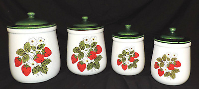 McCoy Strawberry Country Canister Set - EIGHT PIECES - Very Good Condition