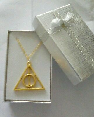 Harry Potter 'The Deathly Hallows' Charm Necklace Gold Plated : New & Boxed