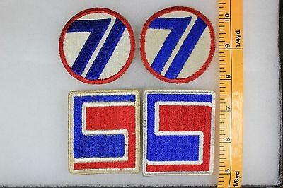 US WW2 Army Cut Edge Snowy 69th & 71st Infantry Division 4 Patch Lot OA155