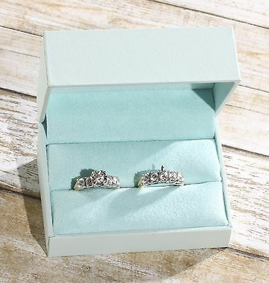 NWT Double Engagement Wedding Ring Band Presentation Gift Box, Pale Mist Blue