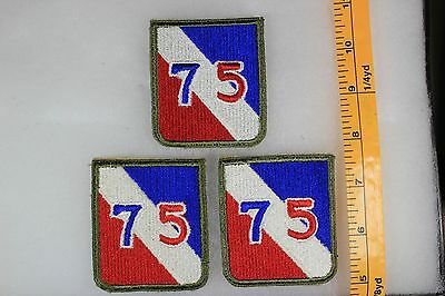 US WW2 Army Cut Edge Snowy 75th Infantry Division 3 Patch Lot OA157