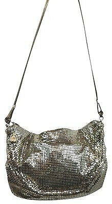 Whiting And Davis Vintage White Tone Oro Mesh Metal Evening Shoulder Bag