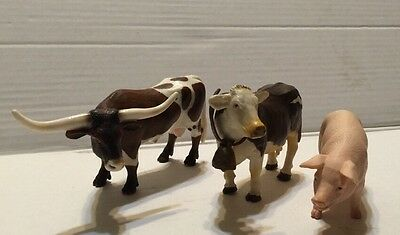 Schleich Longhorn Bull brown & white, Cow With Bell, Pig Farm Animal Figures Lot