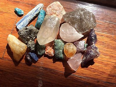 Mixed Lot loose rough gemstones Emerald Apatite Citrine Amethyst Kyanite 604cttw