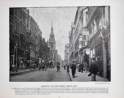 Antique London Print in B/W c.1896 - Cheapside with Bow Church (198)