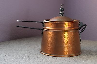 Copper Double Boiler Hand Hammered Arts & Crafts Handmade Unmarked Black Handles