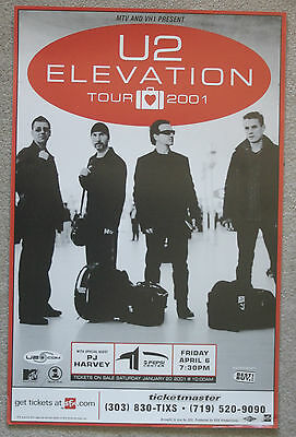 2001 U2 PJ Harvey concert poster Elevation Tour Denver Colorado Bono The Edge