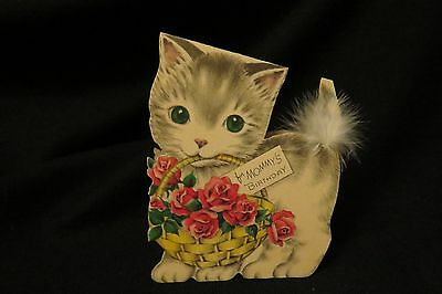 Vintage KITTEN Mommy's Birthday card c. 1940s by: norcross
