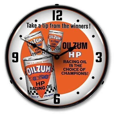 Oilzum HP Racing Oil - The Choice of Champions Lighted Backlit Advertising Clock
