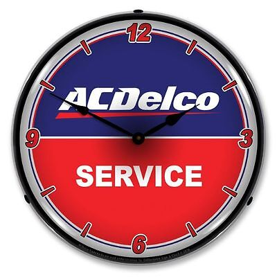 "Nostalgic "" AC Delco - Service "" Garage Lighted Backlit Advertising Clock - NEW"