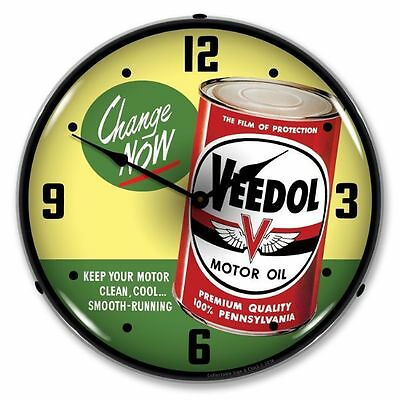Veedol Motor Oil - 100% Pennsylvania Lighted Backlit Advertising Clock Premium