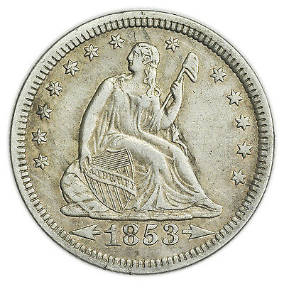 1853 Seated Liberty Quarter w/ Arrows & Rays, Nice, Rare Silver Coin [3120.01]
