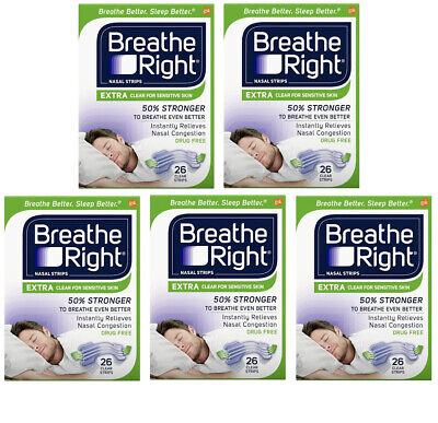 130 BREATHE RIGHT NASAL STRIPS EXTRA CLEAR (5 x 26 CT BOXES) Ship World Wide