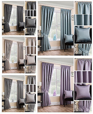 Sateen Woven Blackout Pencil Pleat/Tape Top Unlined Readymade Curtain Pair