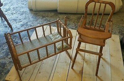 Vintage JENNY LIND (?) Doll Cradle and High Chair - Taiwan
