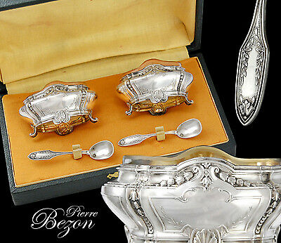 Boxed French Sterling Silver Open Salt Cellars and Spoons