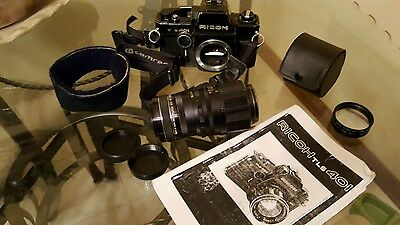 *UNTESTED* Vintage Ricoh TLS 401 Black Film Camera with extras!